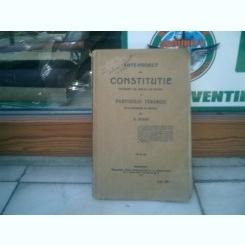 Ante-proect de constitutie intocmit de sectia de studii a Partidului Taranesc - C. Stere