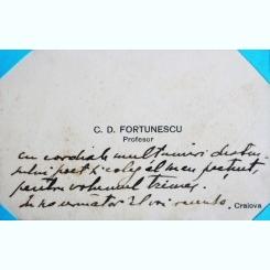 CARTE DE VIZITA A PROFESORULUI C.D. FORTUNESCU, CU MESAJ DE MULTUMIRE