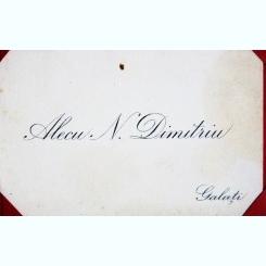 CARTE DE VIZITA ALECU N. DIMITRIU
