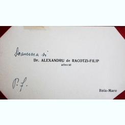 CARTE DE VIZITA A AVOCATULUI ALEXANDRU DE RACOTZI-FILIP