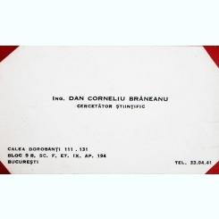 CARTE DE VIZITA DAN CORNELIU BRANEANU, INGINER, CERCETATOR STIINTIFIC