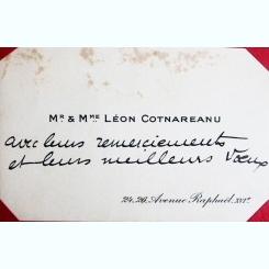 CARTE DE VIZITA LEON COTNAREANU, CU MESAJ DE MULTUMIRE, IN LIMBA FRANCEZA