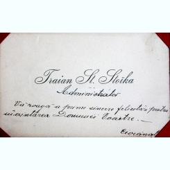 CARTE DE VIZITA TRAIAN ST. STOIKA, CU MEASJ DE FELICITARE