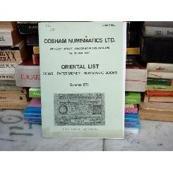 Cobham numismatics Ltd. Oriental List , 1977