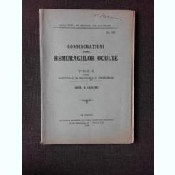 CONSIDERATIUNI ASUPRA HEMORAGIILOR OCULTE - ERMIL L. LAZEANU TEZA DE DOCTORAT, CU DEDICATIA AUTORULUI