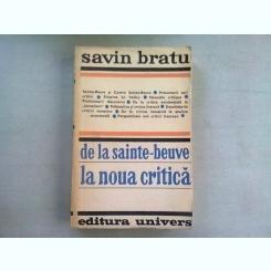 DE LA SAINTE BEUVE LA NOUA CRITICA - SAVIN BRATU