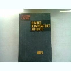 ELEMENTS DE MATHEMATIQUES APPLIQUEES - I. ZELDOVITCH