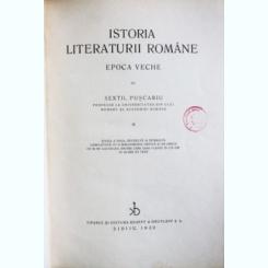 ISTORIA LITERATURII ROMANE VECHI, SEXTIL PUSCARIU