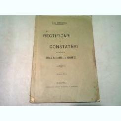 RECTIFICARI SI CONSTATARI CU PRIVIRE LA BANCA NATIONALA A ROMANIEI - I.G. BIBICESCU