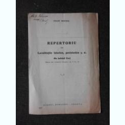 REPERTORIU DE LOCALITATI ISTORICE, PREISTORICE S.A. DIN JUDETUL GORJ - IULIU MOISIL  (CU DEDICATIA AUTORULUI)