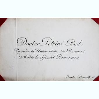 CARTE DE VIZITA PETRINI PAUL, DOCTOR, PROFESOR UNIVERSITAR